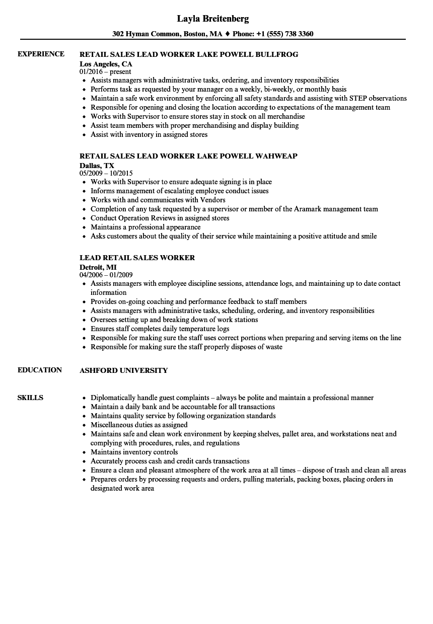 resume examples for lead in retail