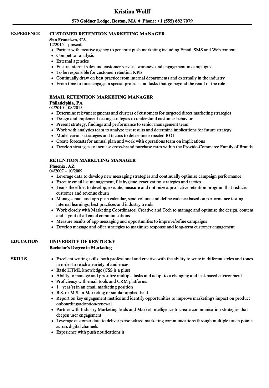 customer retention manager resume sample