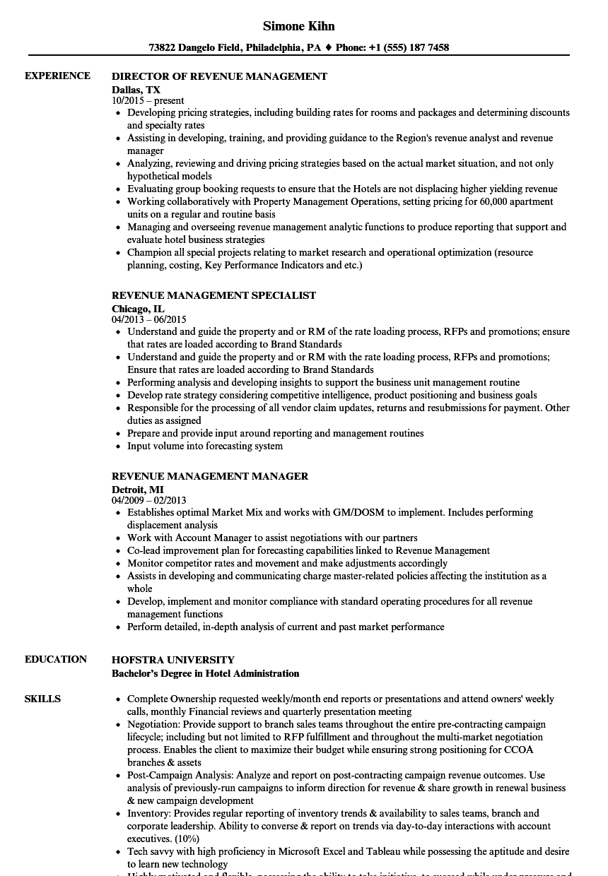 sample resume for revenue cycle manager