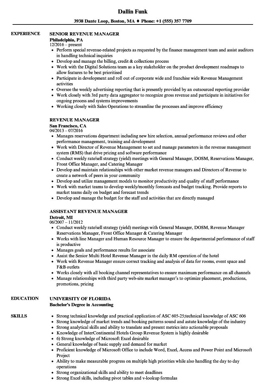 revenue management resume examples