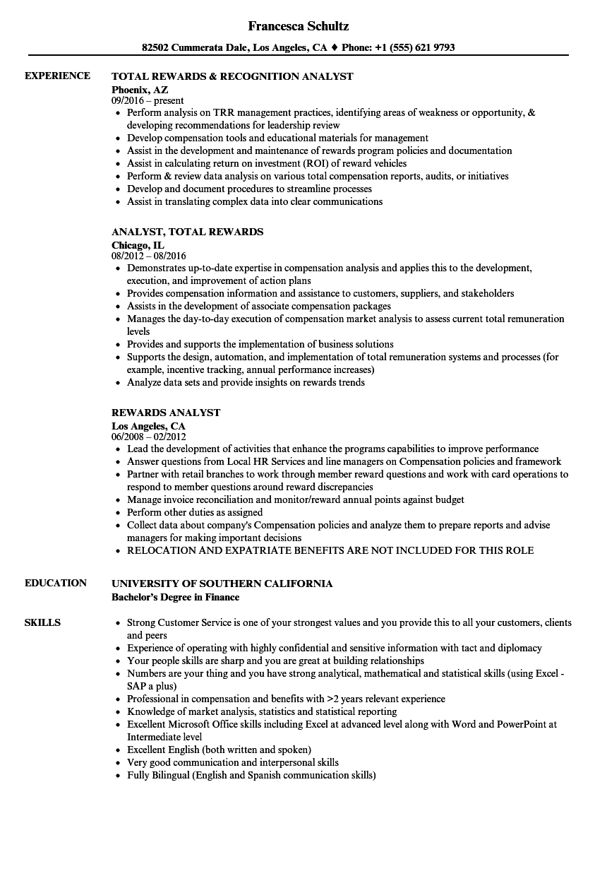 sample resume of an excel analyst