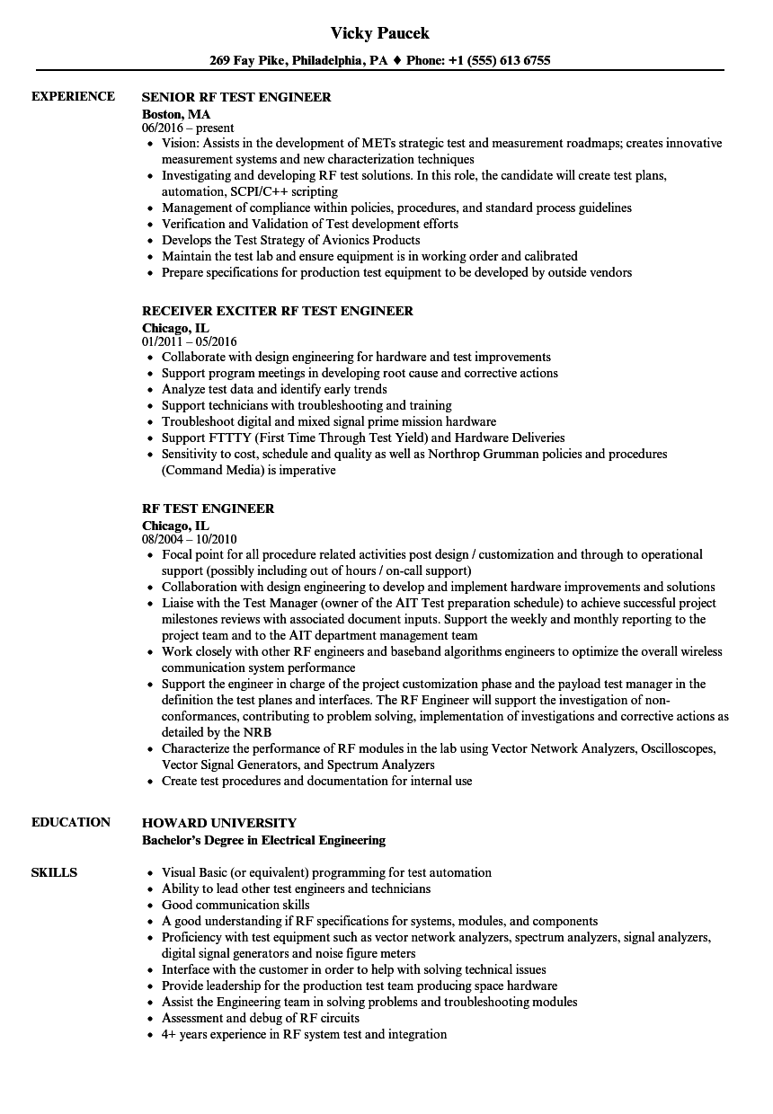 test engineer resume examples