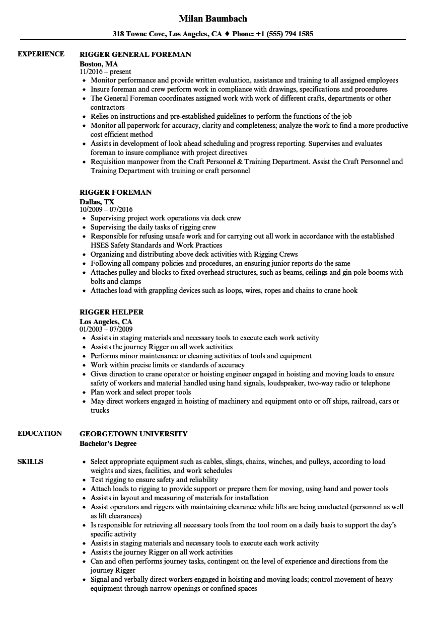rigger resume profile examples