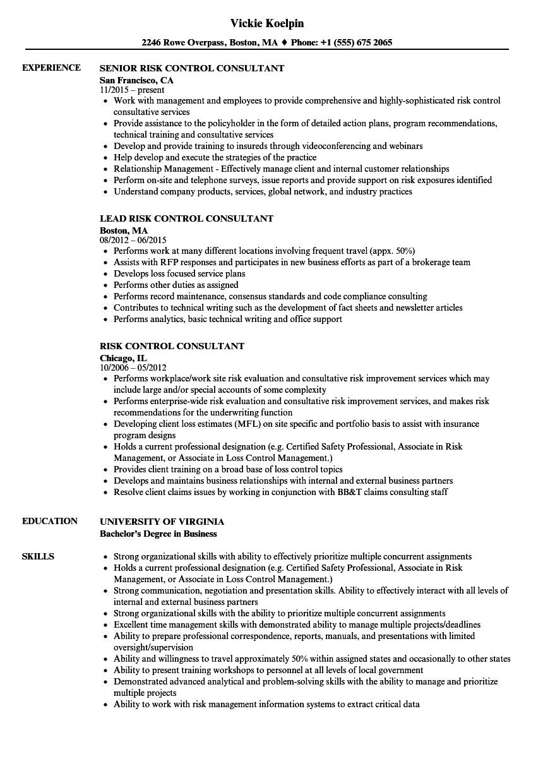 operational risk consultant resume sample