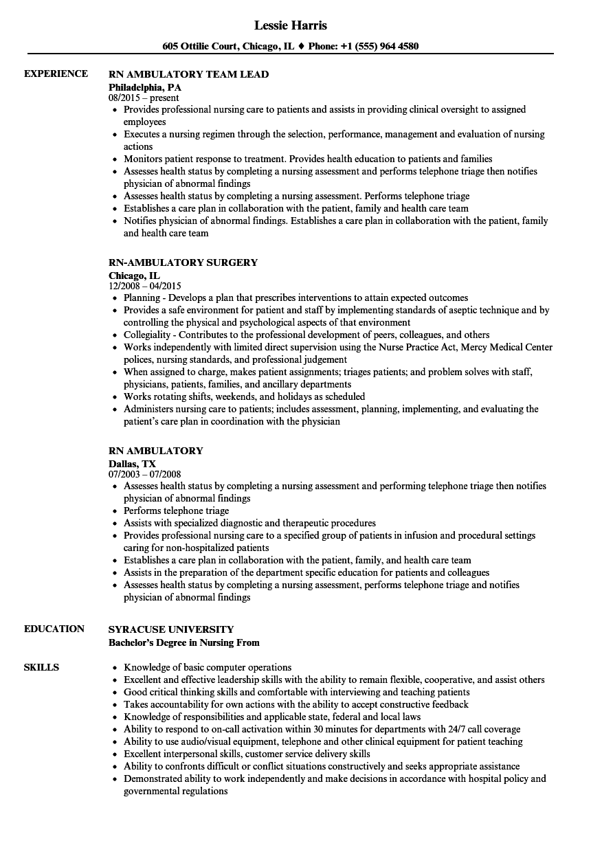 resume examples rn