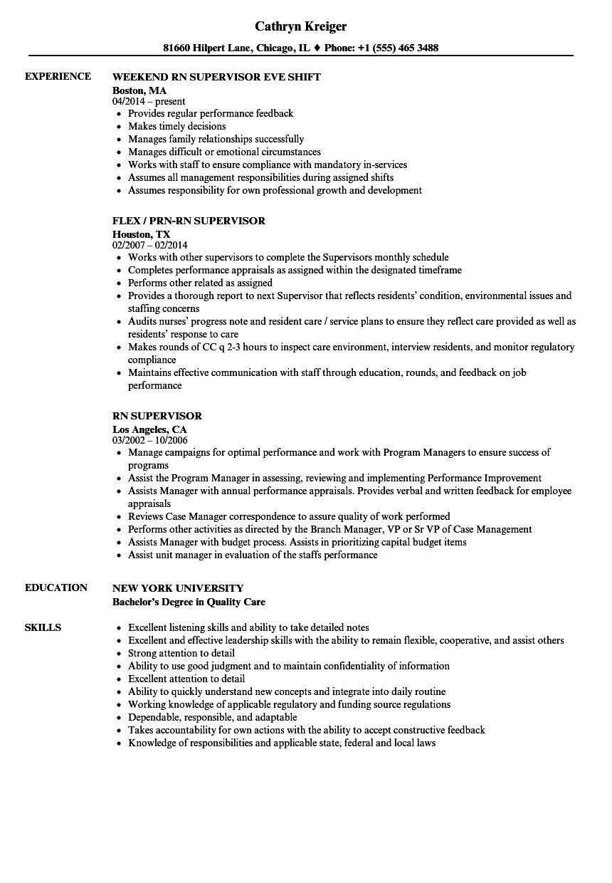 resume nursing supervisor position