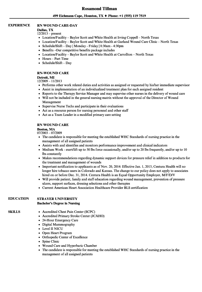 wound care rn resume sample
