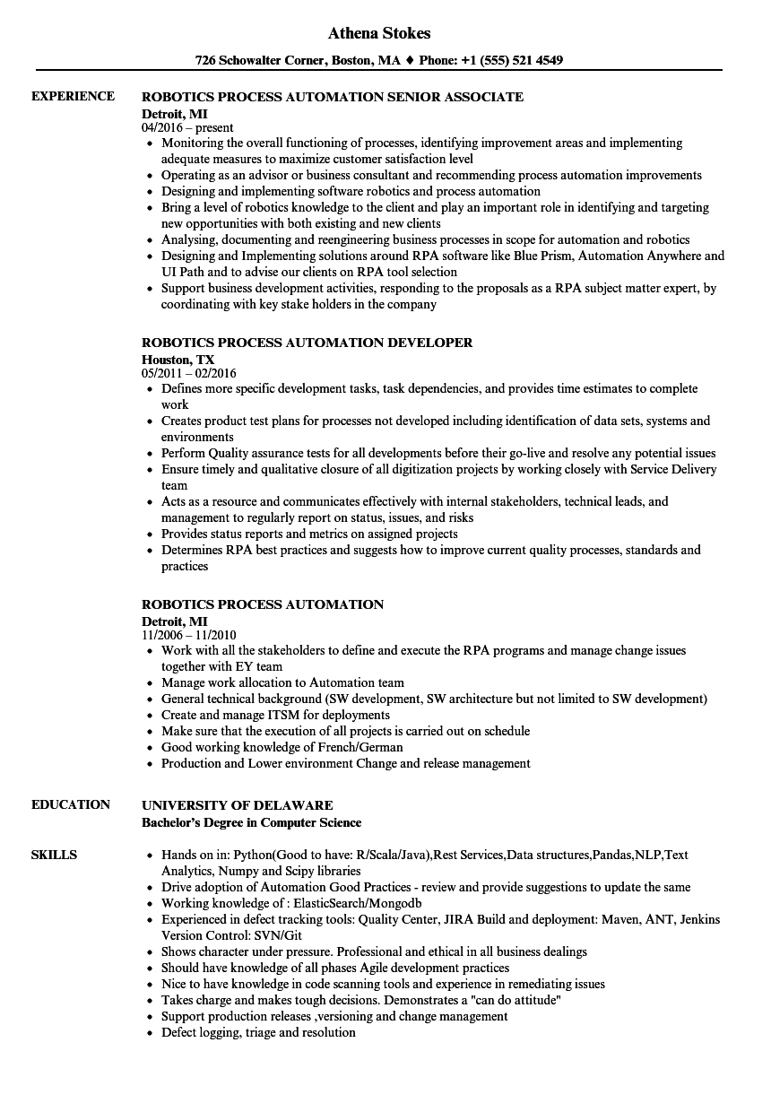 automation technician resume examples