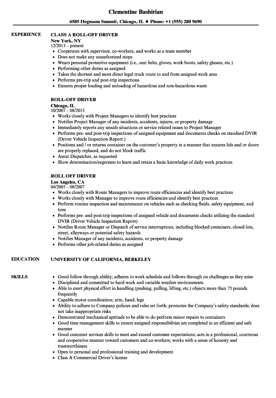 driver jobs resume sample
