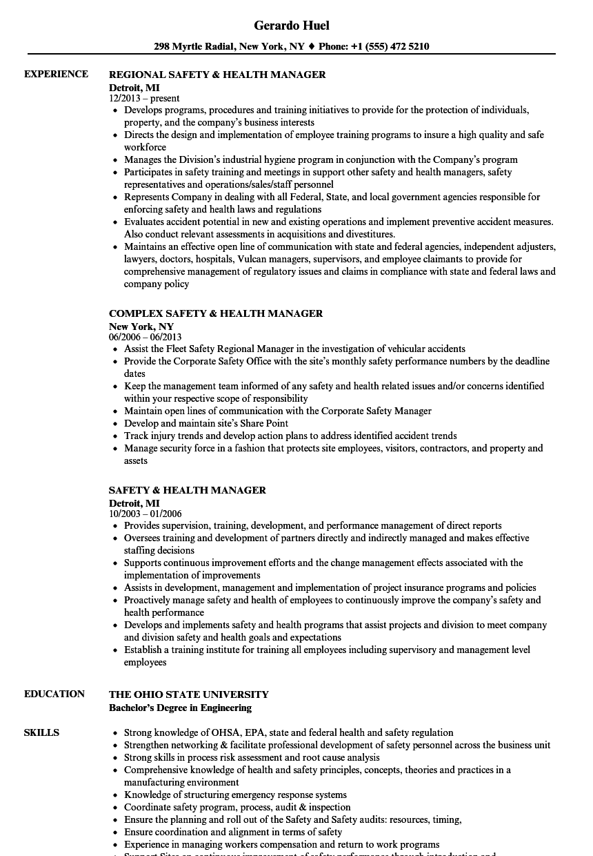health and safety resume examples