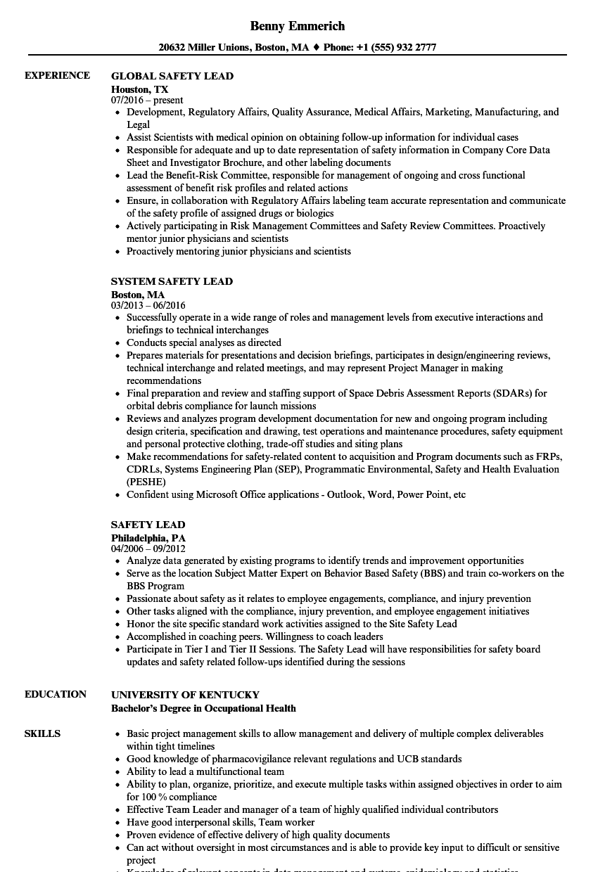 safety training examples for resume