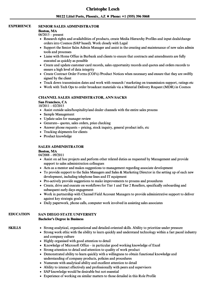 sales administrator resume examples