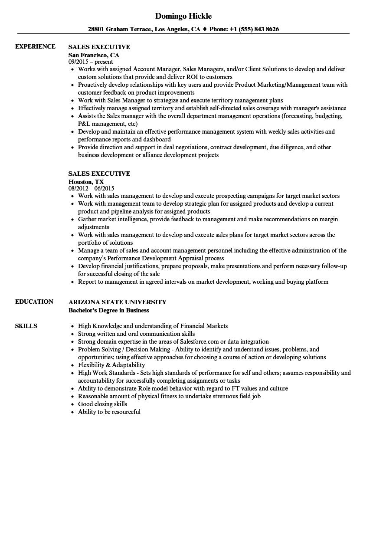 sales executive job resume sample