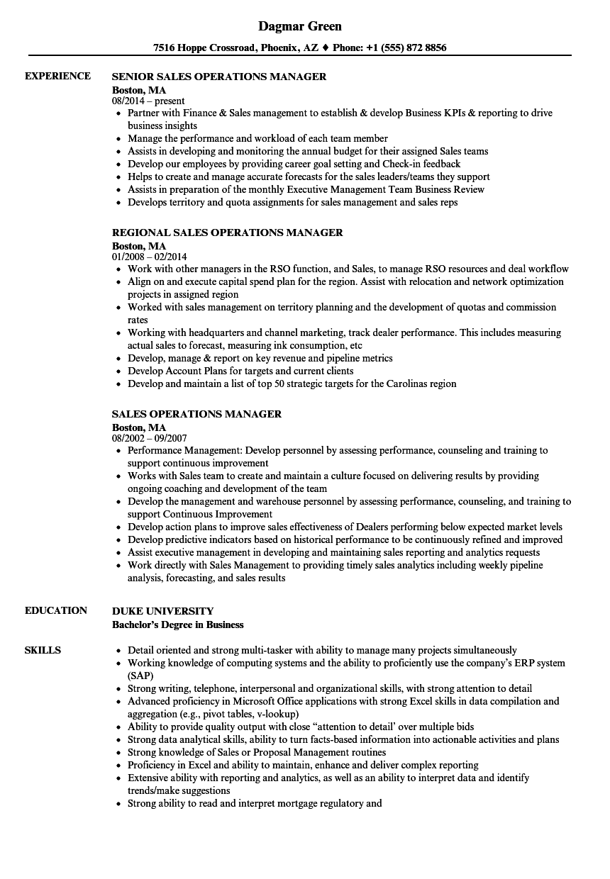 sales operations manager resume examples