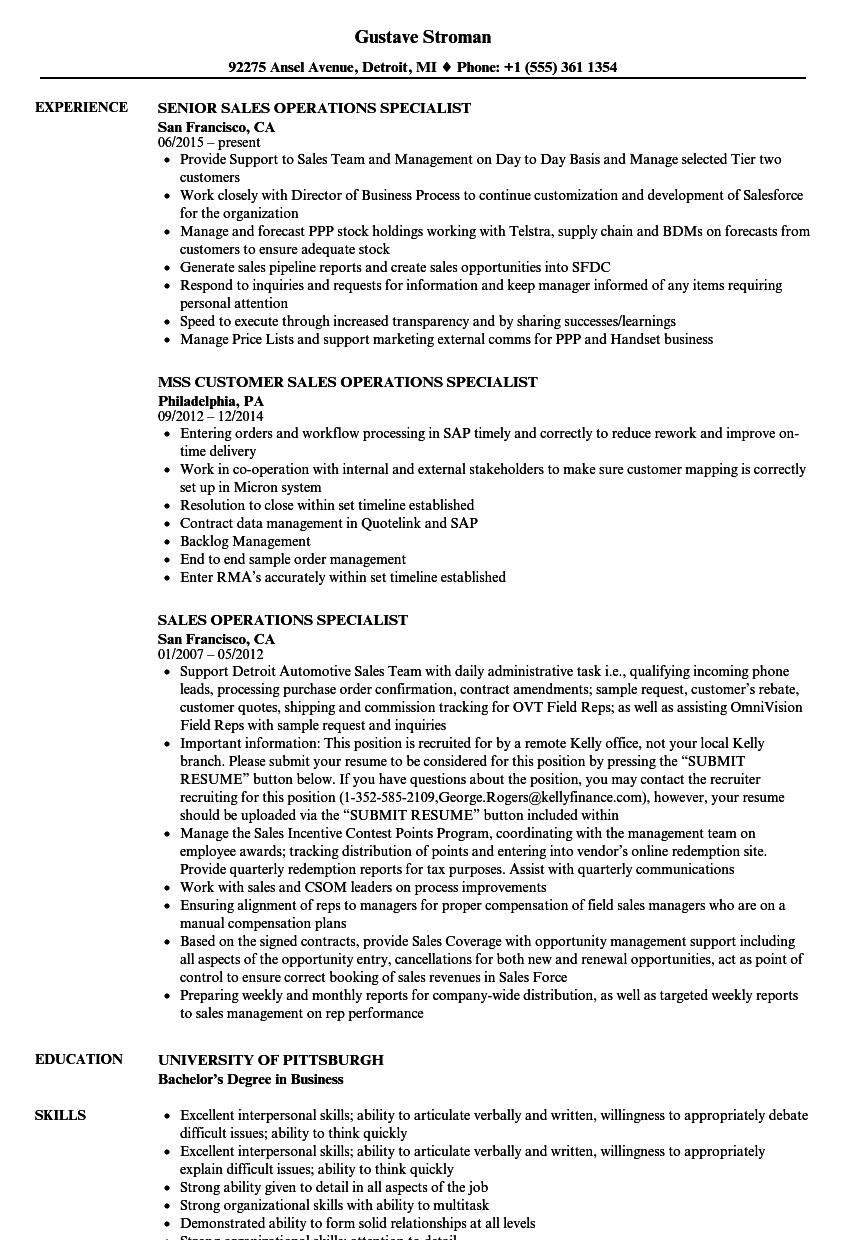 clinical sales specialist resume sample