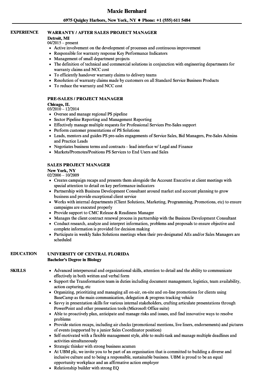clinical project manager resume examples