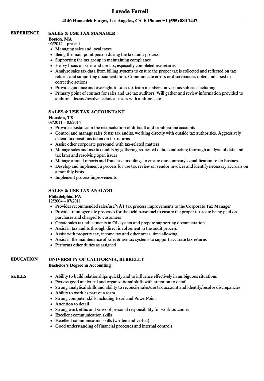 tax analyst resume sample