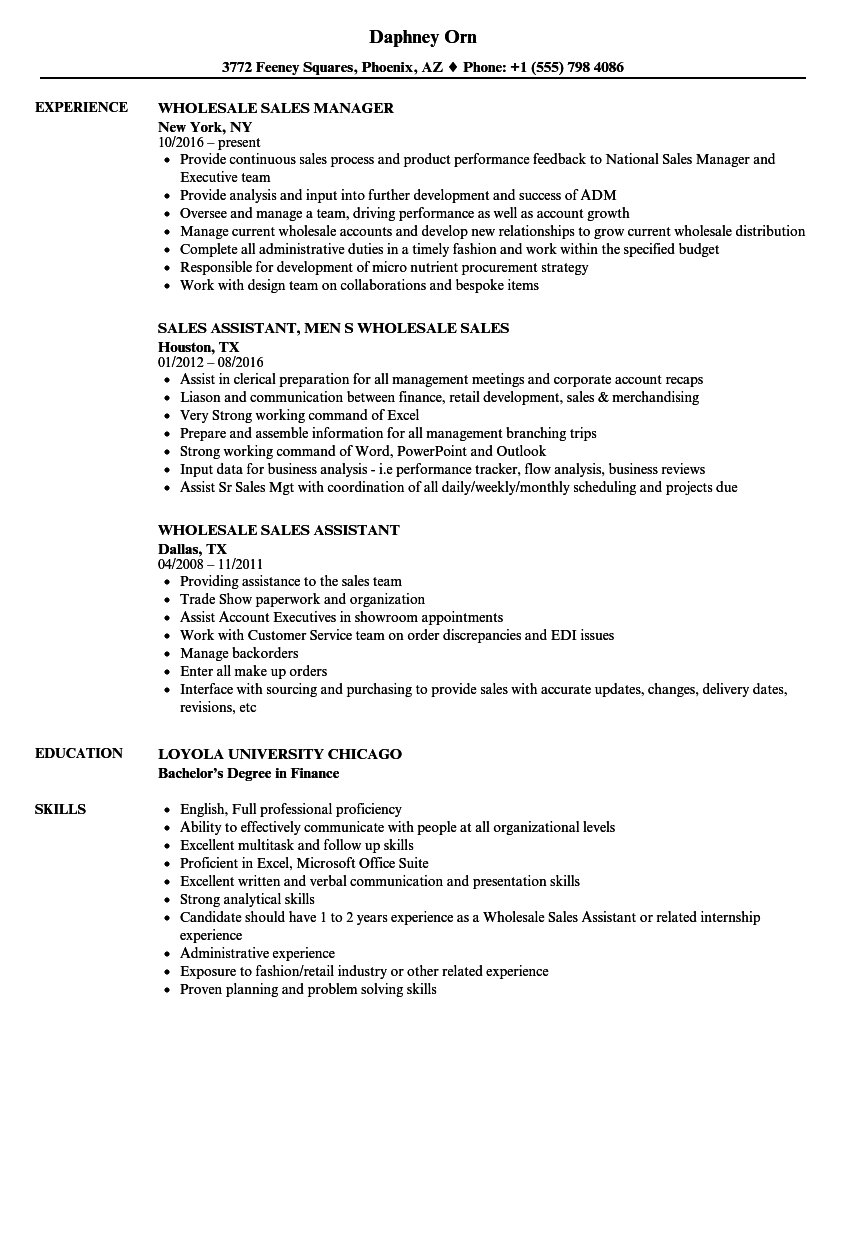 wholesale sales resume examples