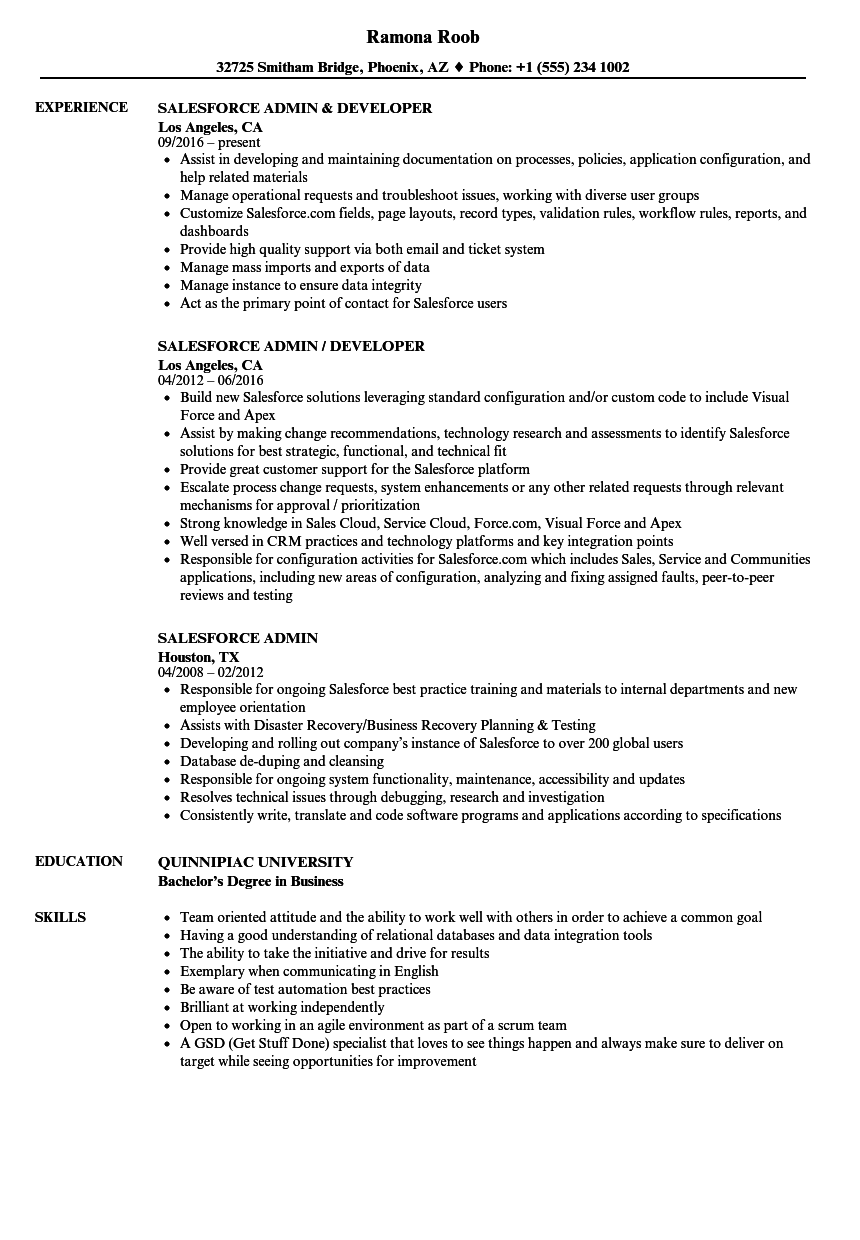 salesforce resume examples