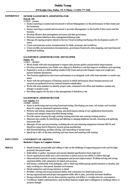 salesforce admin resume sample