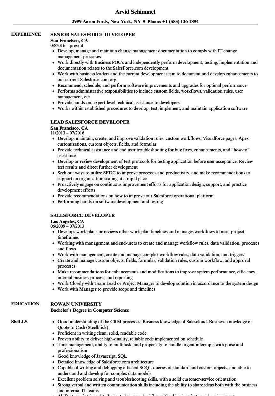 salesforce developer resume samples