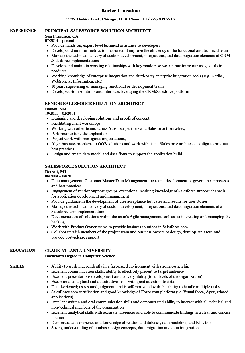 salesforce solution architect resume examples