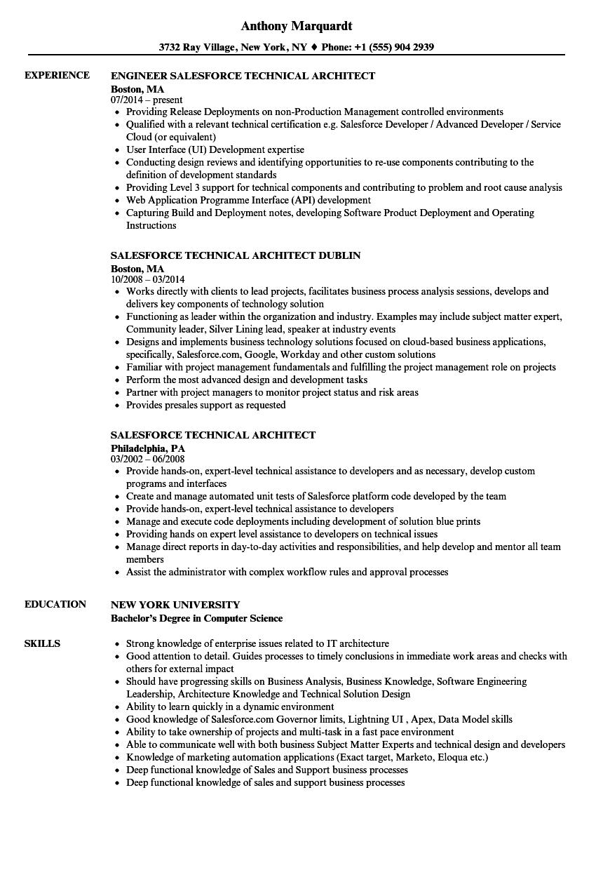 lead architect resume sample