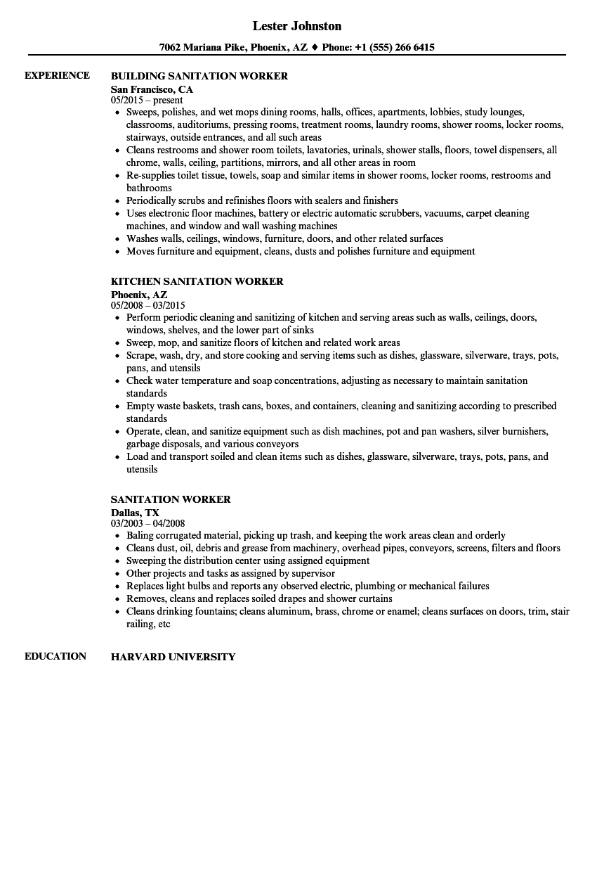 sample resume sanitation worker