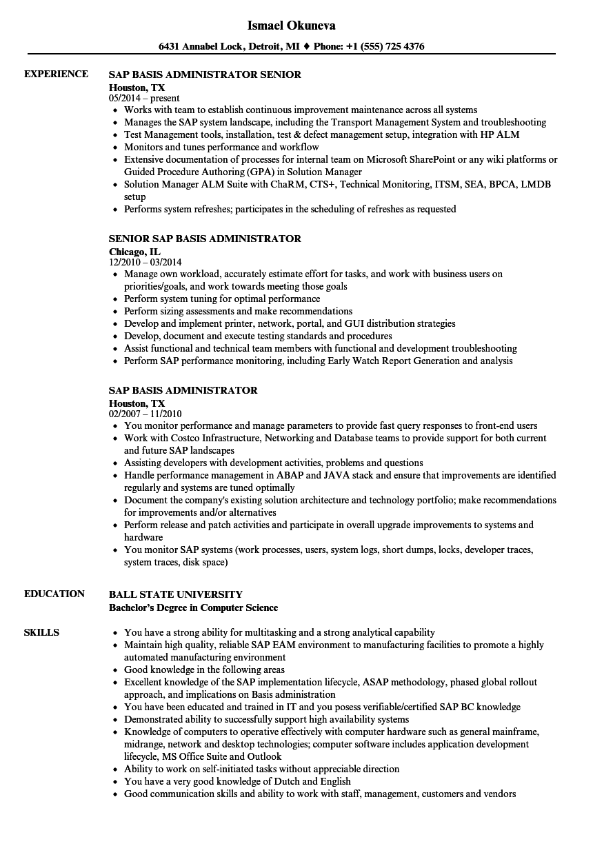 sap basis sample resume