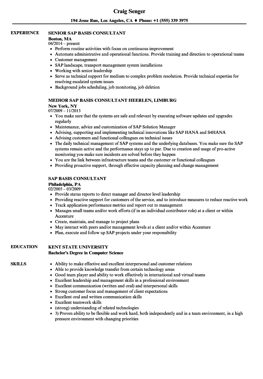 sample resume for sap basis consultant