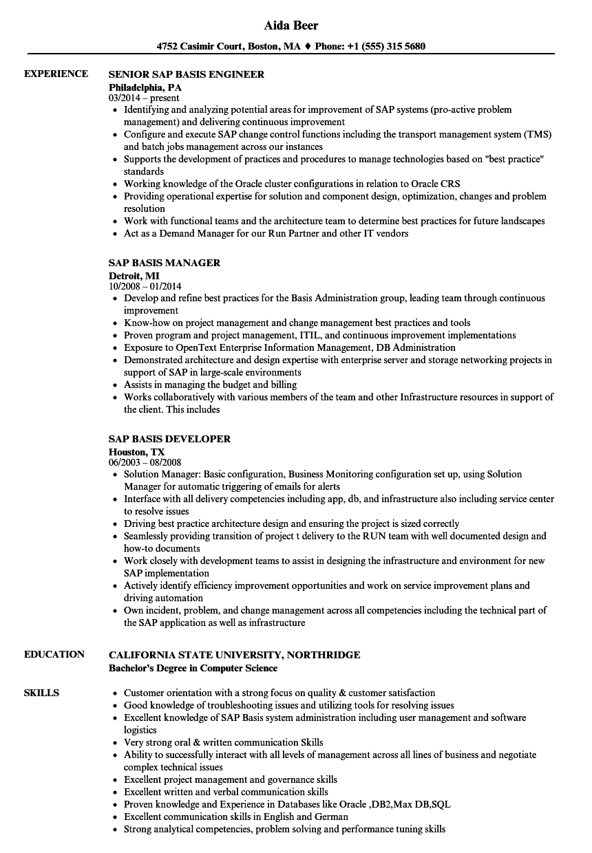 sap basis sample resume for 5 years experience