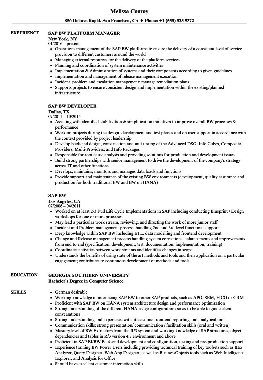 sap bw hana sample resume