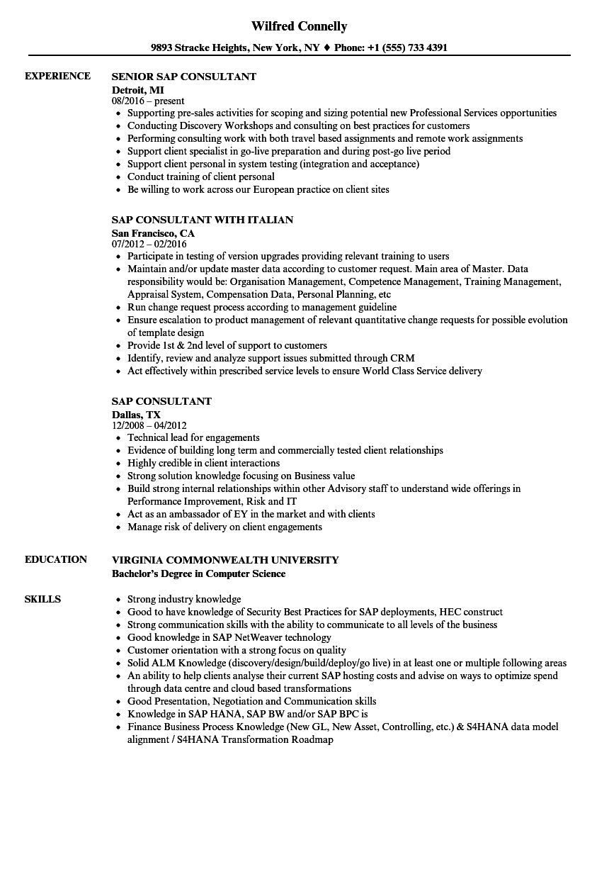 sample resume for sap crm technical consultant
