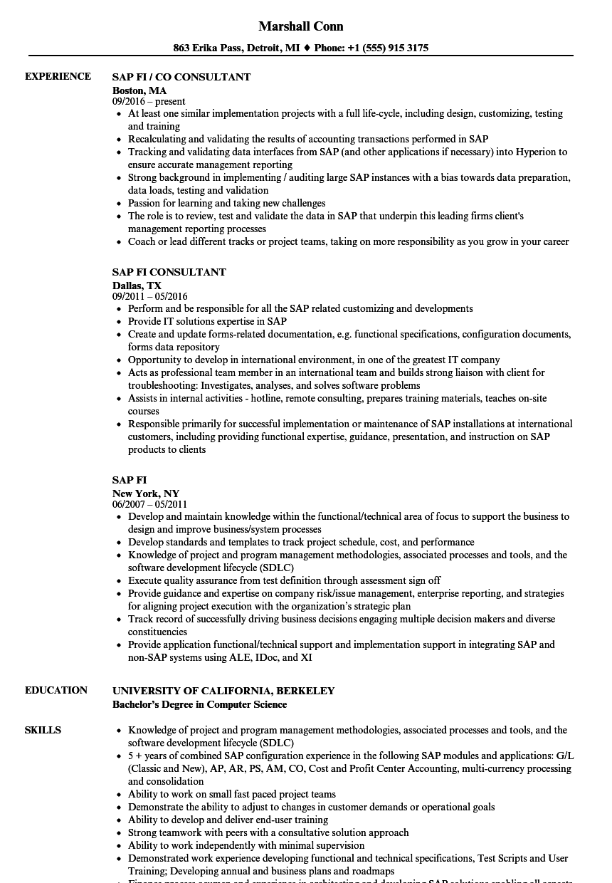 sample resume for sap end user