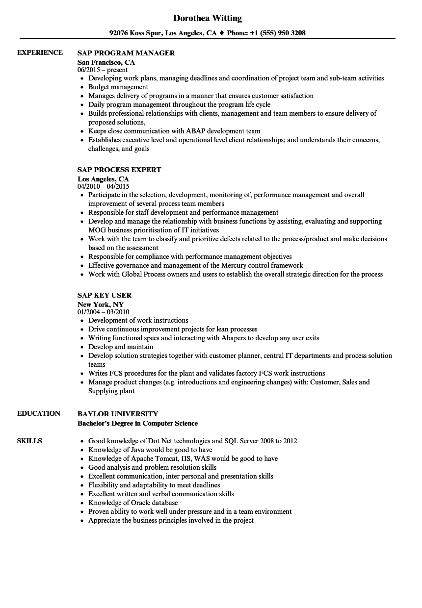 sap hana fresher resume sample