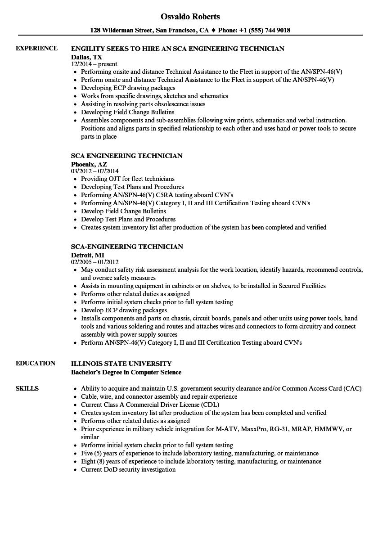 sca resume example