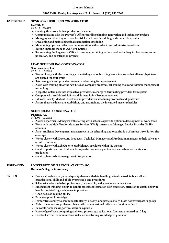 sample scheduling coordinator resume