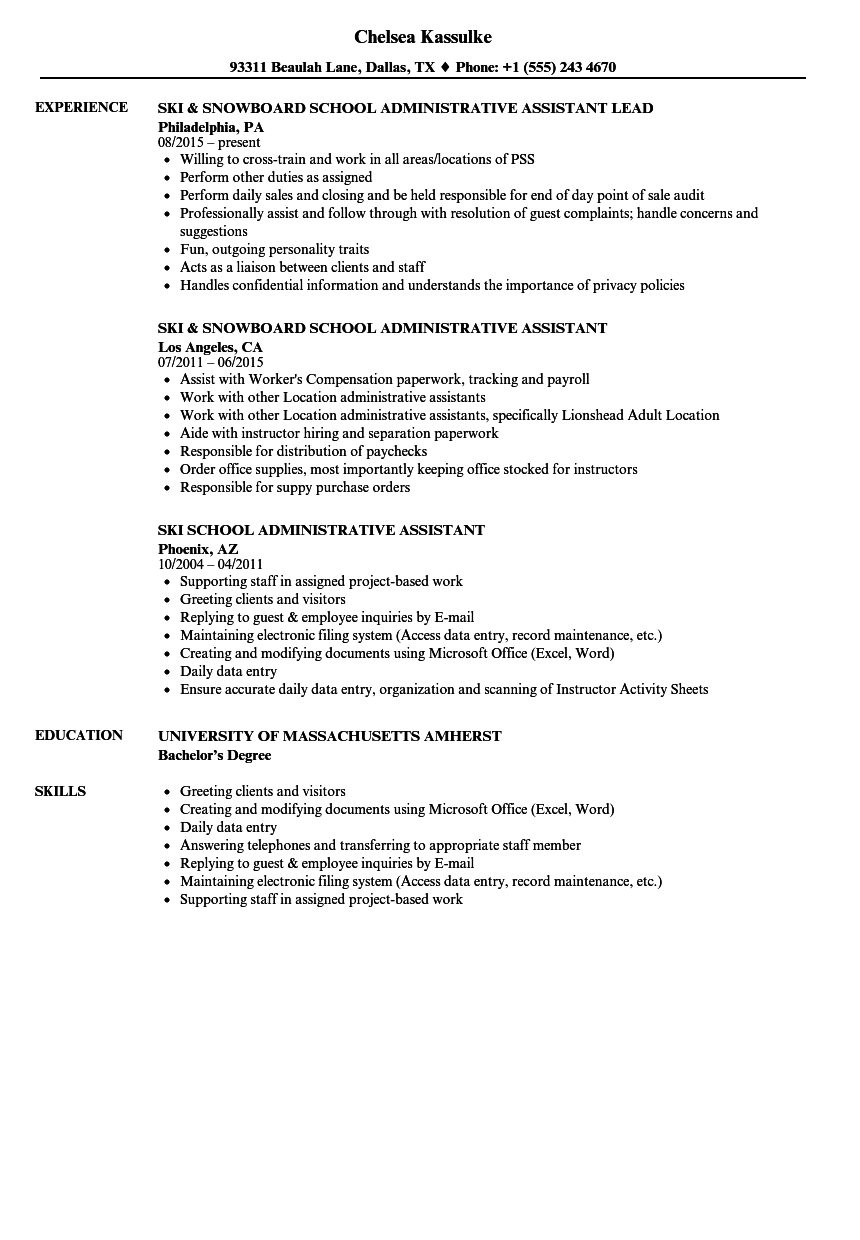 school administrative assistant resume examples