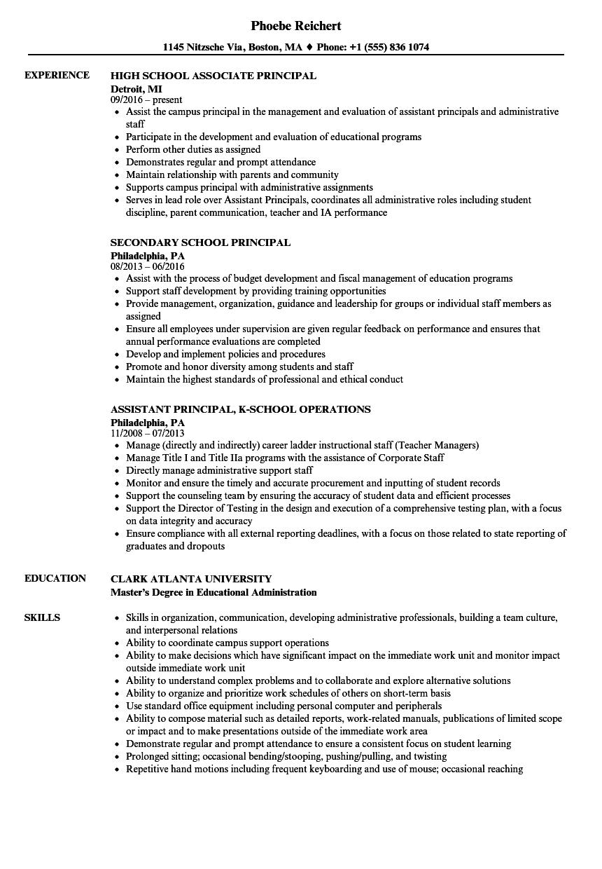 sample resume for high school principal job