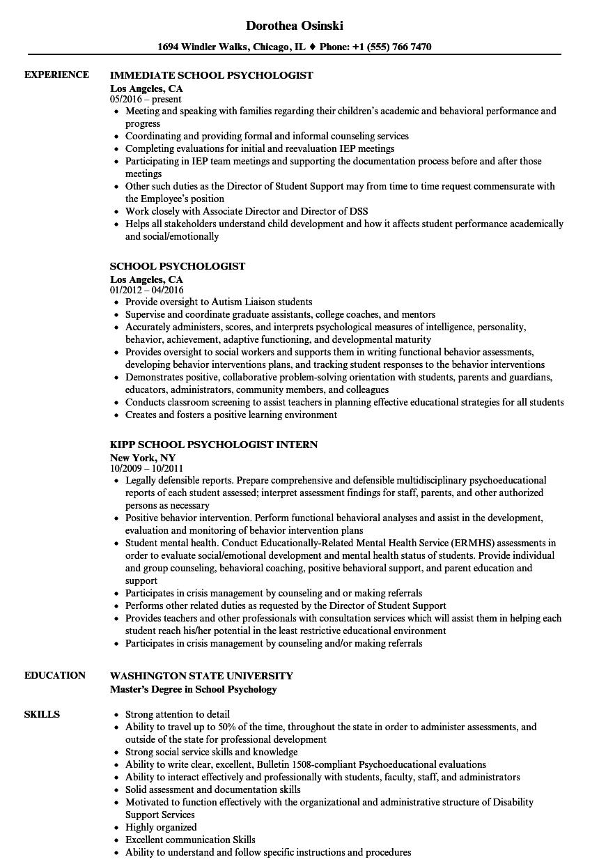 school psychology resumes