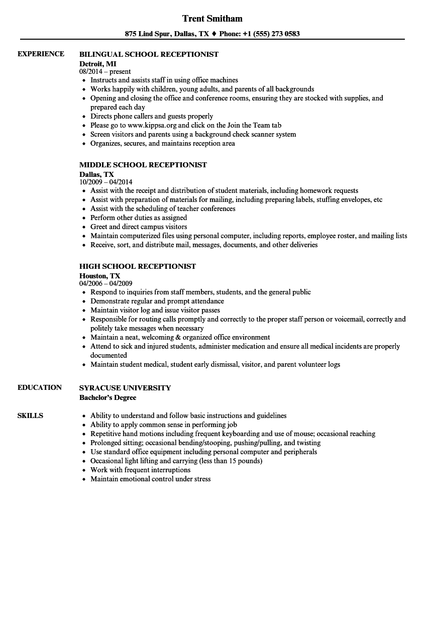 resume examples for school receptionist