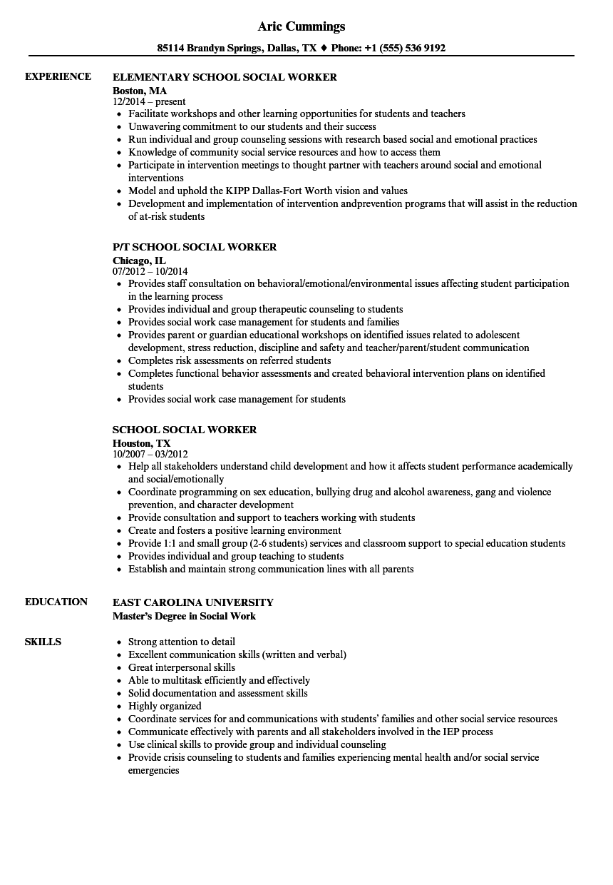 school social work resume sample