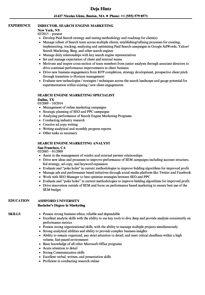 resume format for search engines
