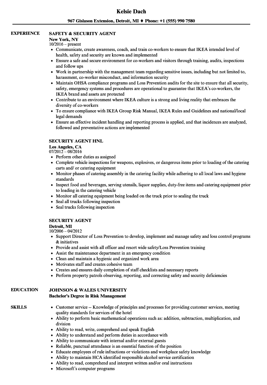 sample security agent resume