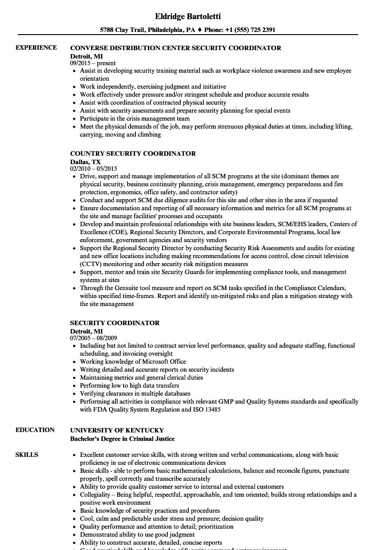 assistant coordinator resume sample
