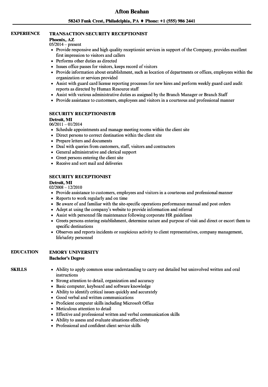 facility security officer resume sample
