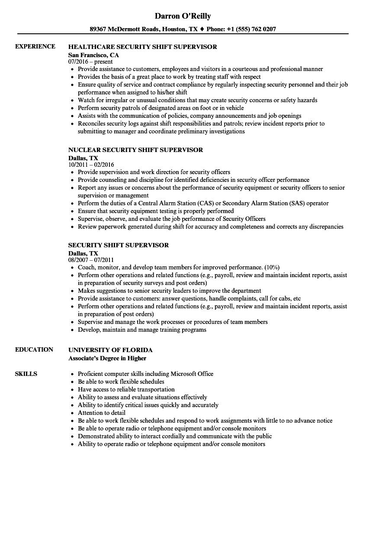 security shift supervisor job description