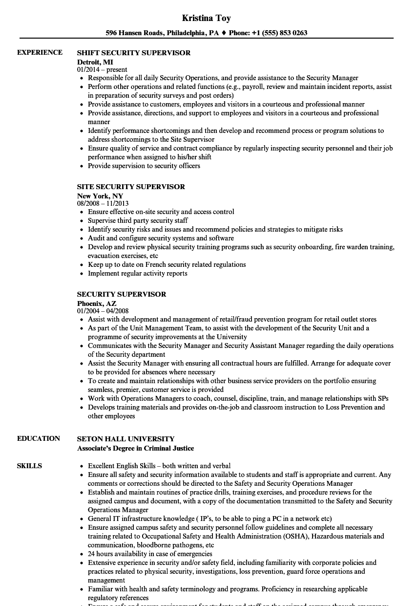 physical security guard resume examples