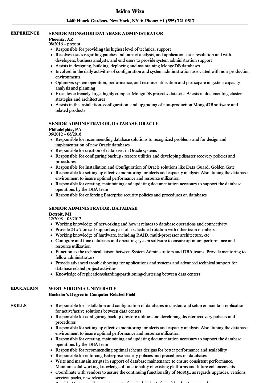 application administrator resume sample