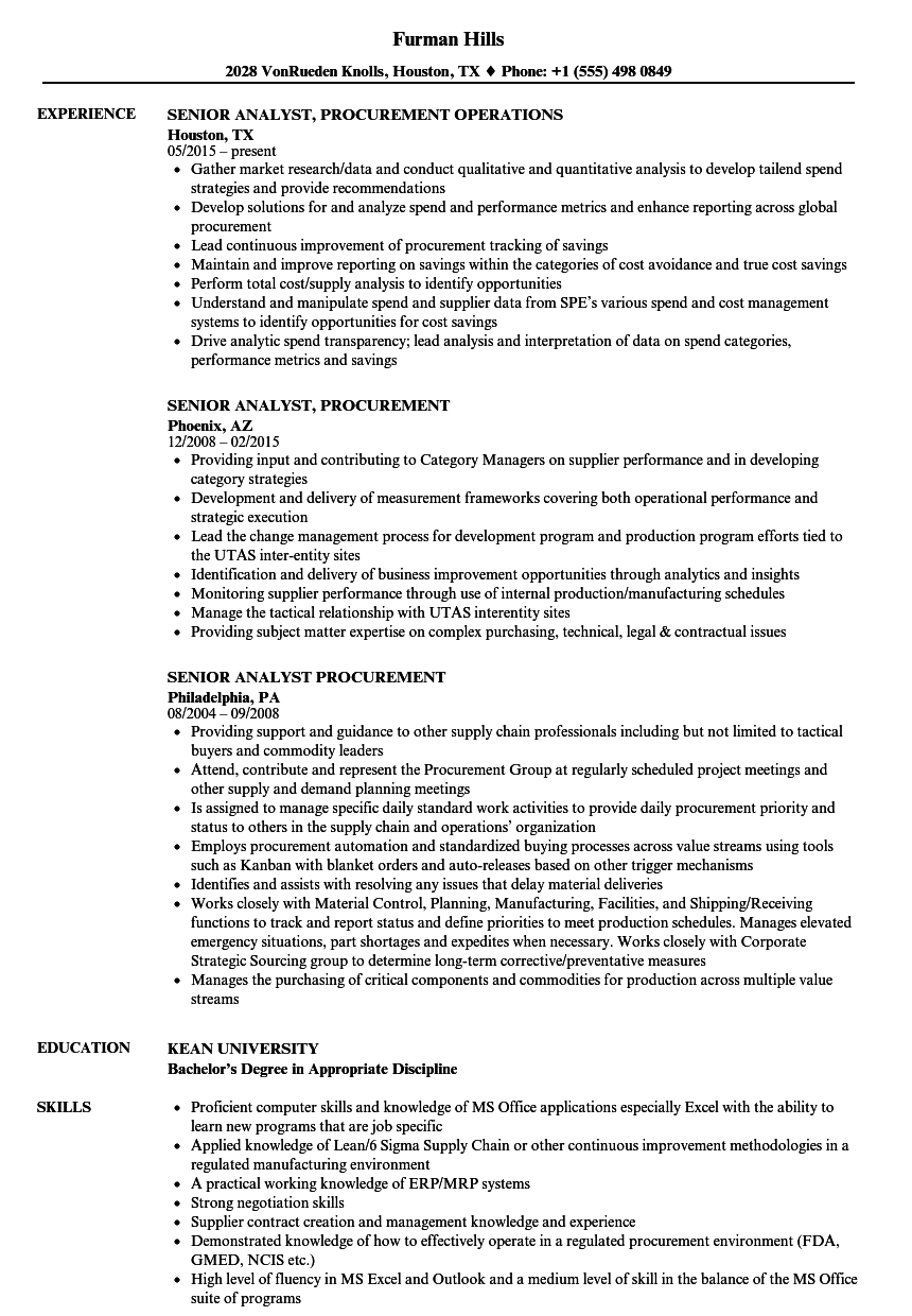 senior it analyst resume examples